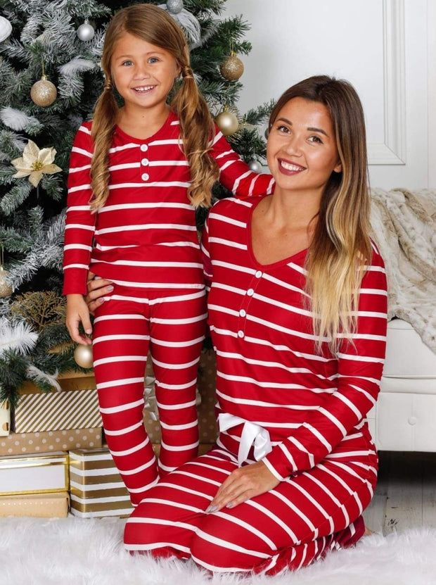 Mommy and Me Striped Christmas Themed Button Pajama Set - Red / 2T/3T - Mommy & Me Pajamas