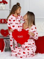 Mommy and Me Valentines Day Themed Button Pajama Set - Mommy & Me Pajamas