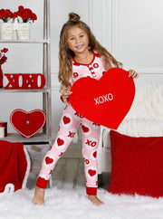 Mommy and Me Valentines Day Themed Button Pajama Set - Pink / 2T/3T - Mommy & Me Pajamas