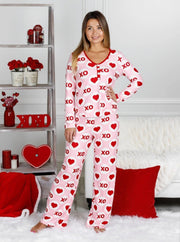 Mommy and Me Valentines Day Themed Button Pajama Set - Pink / XS - Mommy & Me Pajamas