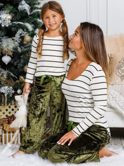 Mommy and Me Velvet Lounge Pants with Waist Bow Tie - Mommy & Me Pants