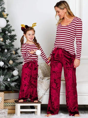 Mommy and Me Velvet Lounge Pants with Waist Bow Tie - Burgundy / 2T/3T - Mommy & Me Pants