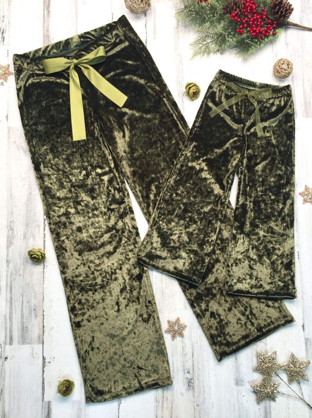 Mommy and Me Velvet Lounge Pants with Waist Bow Tie - Green / 2T/3T - Mommy & Me Pants