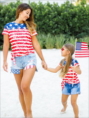 Mommy & Me 4th of July Themed American Flag Side Knot Top - Mommy & Me Top