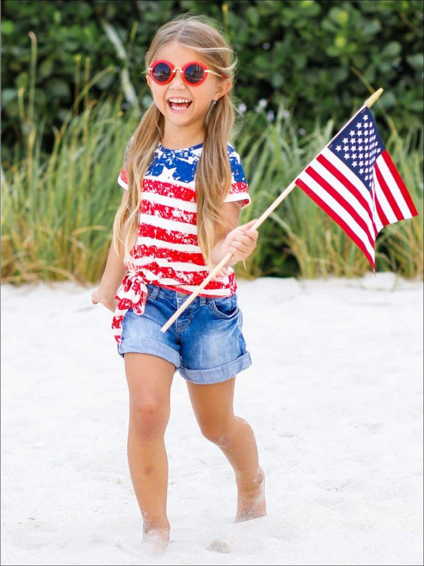Mommy & Me 4th of July Themed American Flag Side Knot Top - Red / S-3T - Mommy & Me Top