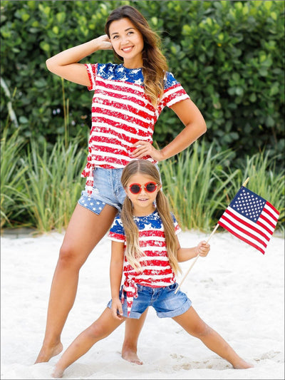 Mommy & Me 4th of July Themed American Flag Side Knot Top - Red / Mommy S - Mommy & Me Top
