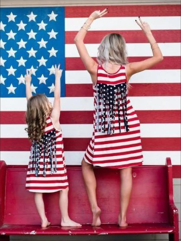 Mommy & Me American Flag Fringed Back Dress - Mommy & Me Dress