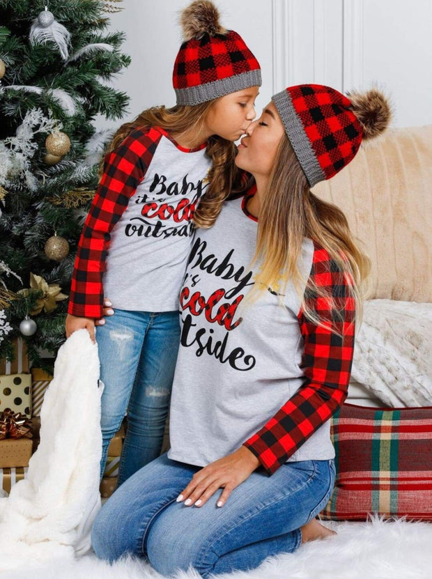 Mommy & Me Baby its Cold Outside Plaid Long Raglan Sleeve Top - Mommy & Me Top