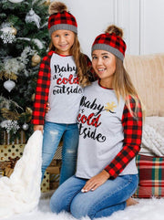 Mommy & Me Baby its Cold Outside Plaid Long Raglan Sleeve Top - Grey / 2T - Mommy & Me Top