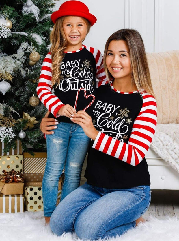 Mommy & Me Baby its Cold Outside Striped Long Raglan Sleeve Top - Mommy & Me Top