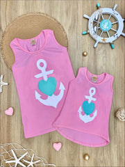 Mommy & Me Back Bow Anchor & Heart Tank - Mommy & Me Top
