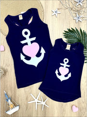 Mommy & Me Back Bow Anchor & Heart Tank - Navy / 2T/3T - Mommy & Me Top