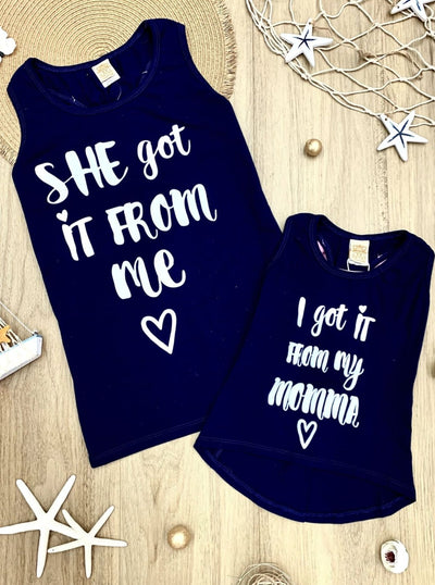 Mommy & Me Back Bow She Got it From Me & I Got it From My Momma Tank - Navy / 2T/3T - Mommy & Me Top