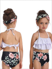 Mommy & Me Black Floral Tiered Ruffle Two Piece Swimsuit - Mommy & Me Swimsuit