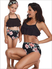 Mommy & Me Black Floral Tiered Ruffle Two Piece Swimsuit - Black / Mom S - Mommy & Me Swimsuit