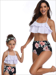 Mommy & Me Black Floral Tiered Ruffle Two Piece Swimsuit - White / Mom S - Mommy & Me Swimsuit