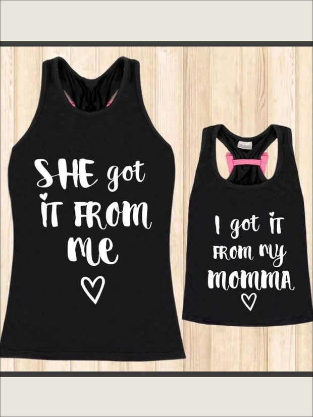 Mommy & Me Black Pink Back Bow I Got It From My Momma Tank - Black / 2T-3T - Mommy & Me Top