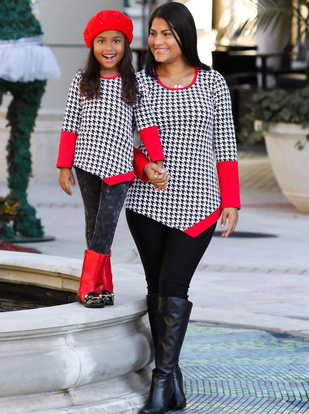 Mommy & Me Black & Red Houndstooth Matching Asymmetric Tunic - Mommy & Me Top