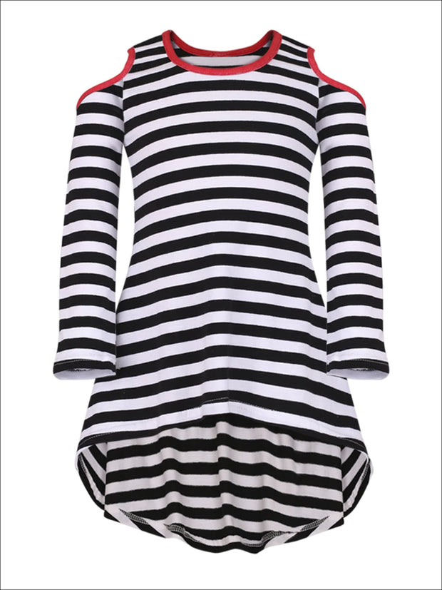Mommy & Me Black & Red Matching Cold Shoulder Striped Hi-Lo Elbow Patch Heart Applique Tunic - Mommy & Me Fall Tunic