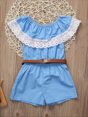 Mommy & Me Blue Off The Shoulder Lace Trim Romper - Mommy and Me