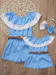Mommy & Me Blue Off The Shoulder Lace Trim Romper - Blue / Mom L - Mommy and Me