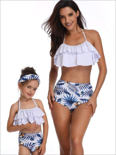 Mommy & Me Blue Palm Leaf Ruffled Two Piece Swimsuit - White / Mom S - Mommy & Me Swimsuit