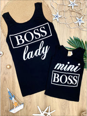 Mommy & Me Boss Lady & Mini Boss Graphic Tank - Black / 2T/3T - Mommy & Me Top