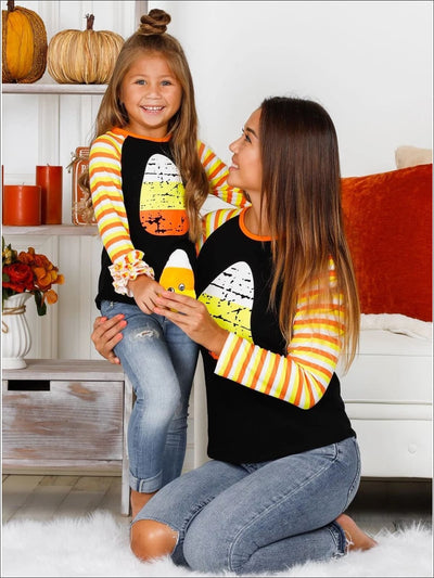 Mommy & Me Candy Cane Long Striped Raglan Sleeve Top - Mommy & Me Top