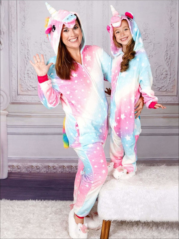 Mommy & Me Cotton Candy Star Unicorn Pajamas - Girls Pajama