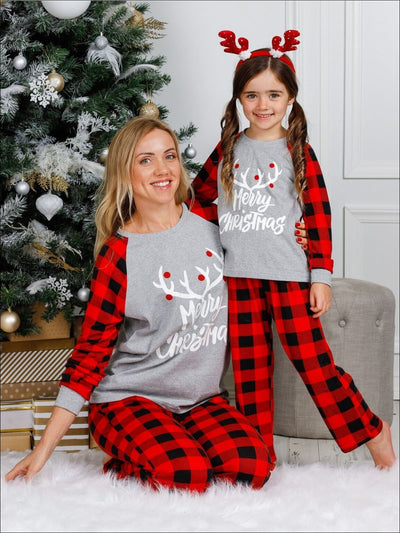 Mommy & Me Cozy Plaid Long Sleeve Holiday Pajamas - Mommy & Me Pajama