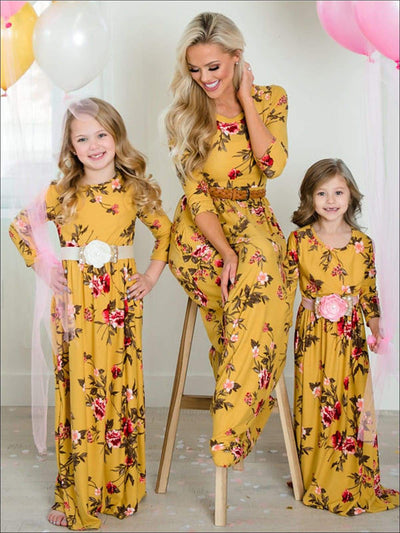 Mommy & Me Fall Floral Long Sleeve Maxi Dress - Mom S / Yellow - Fall Mommy & Me