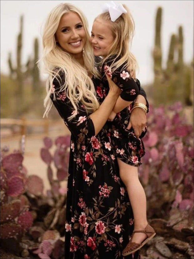 Mommy & Me Fall Long Sleeve Floral Print Maxi Dress - Fall Mommy & Me