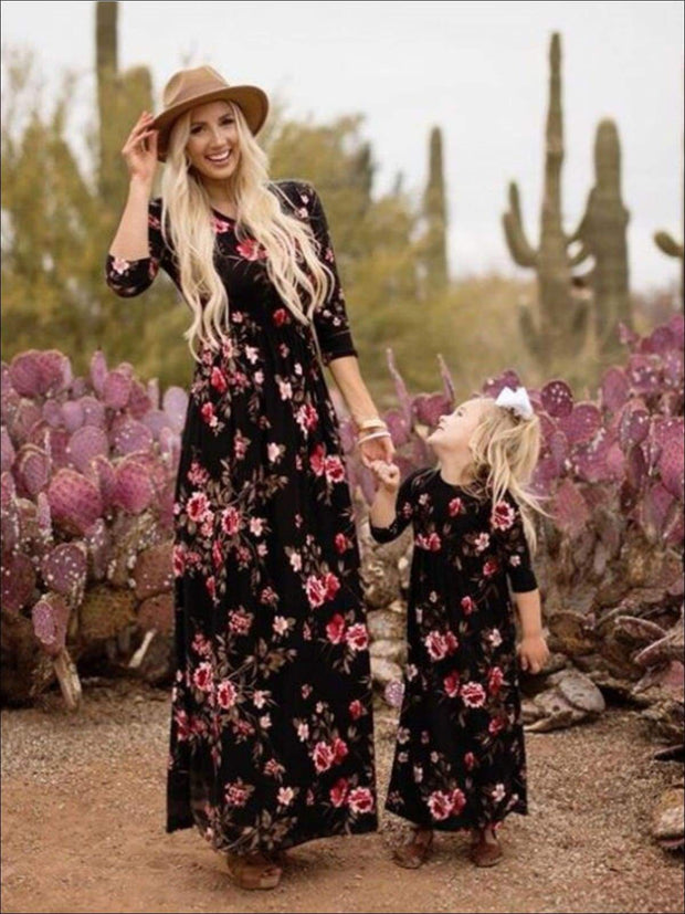 Mommy & Me Fall Long Sleeve Floral Print Maxi Dress - Black / Daughter 3T - Fall Mommy & Me