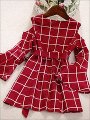 Mommy & Me Fall Red Cold Shoulder Bell Sleeve Dress - Fall Mommy & Me