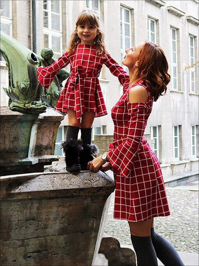 Mommy & Me Fall Red Cold Shoulder Bell Sleeve Dress - Daughter 3T-4T / Red - Fall Mommy & Me