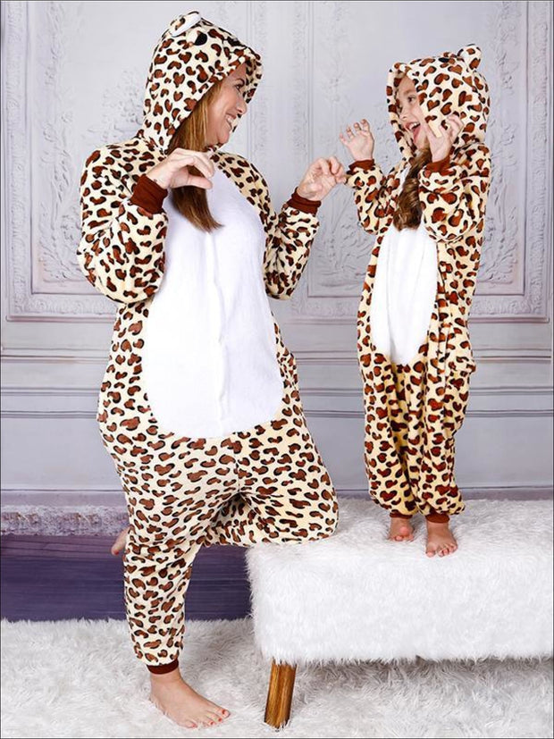 Mommy & Me Fleece Leopard Print Onesie Pajamas - Mommy and Me Pajamas