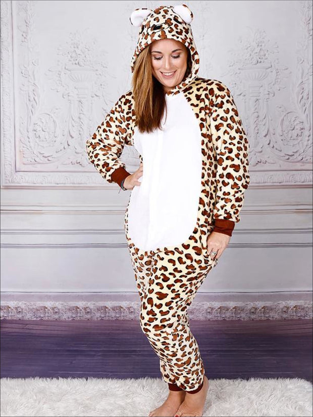 Mommy & Me Fleece Leopard Print Onesie Pajamas - Leopard / S - Mommy and Me Pajamas