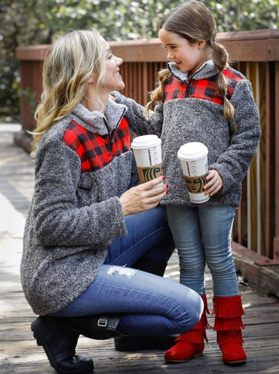 Mommy & Me Fleece Quarter Zip Plaid Pullover Sweater - Mommy & Me Sweater