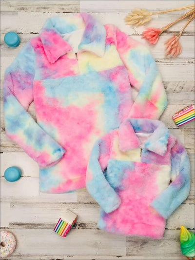 Mommy & Me Fleece Tie-Dye Quarter Zip Pullover Sweater - Multicolor / 2T - Mommy & Me Sweater