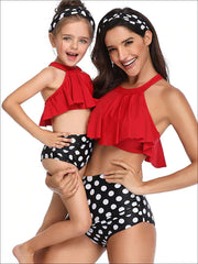 Mommy & Me Floral Leaf Print One Piece & Two Piece Swimsuit - Mommy & Me Swimsuit