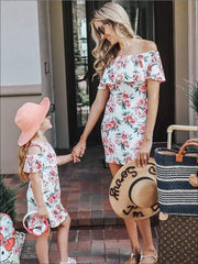 Mommy & Me Floral Print Cold Shoulder Dress - Mommy & Me