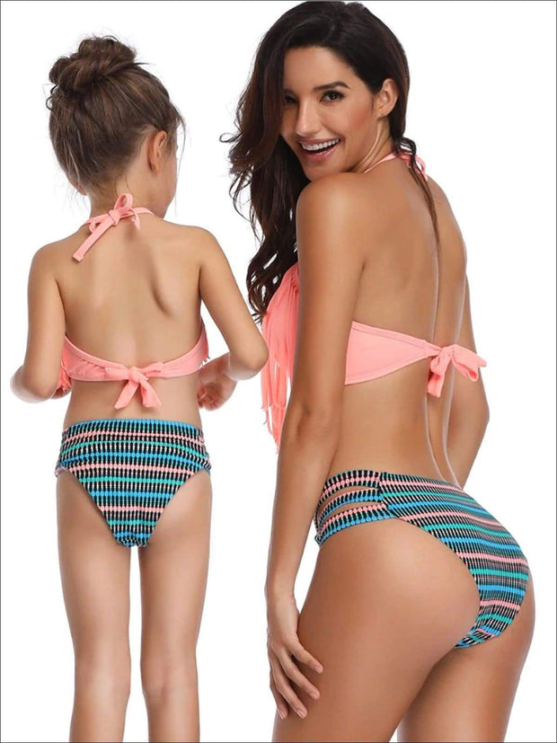 Mommy & Me Fringe Self-Tie Two Piece Swimsuit - Mommy & Me Swimsuit
