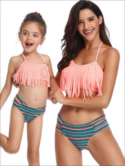 Mommy & Me Fringe Self-Tie Two Piece Swimsuit - Orange / Mom S - Mommy & Me Swimsuit