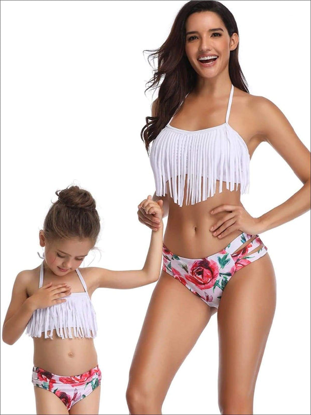 Mommy & Me Fringe Self-Tie Two Piece Swimsuit - White / Mom S - Mommy & Me Swimsuit