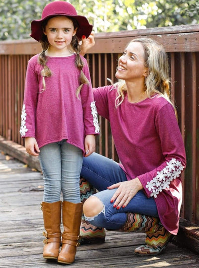 Mommy & Me Fuchsia Long Sleeve Hi-Lo Flower Trim Tunic - Mommy & Me Top