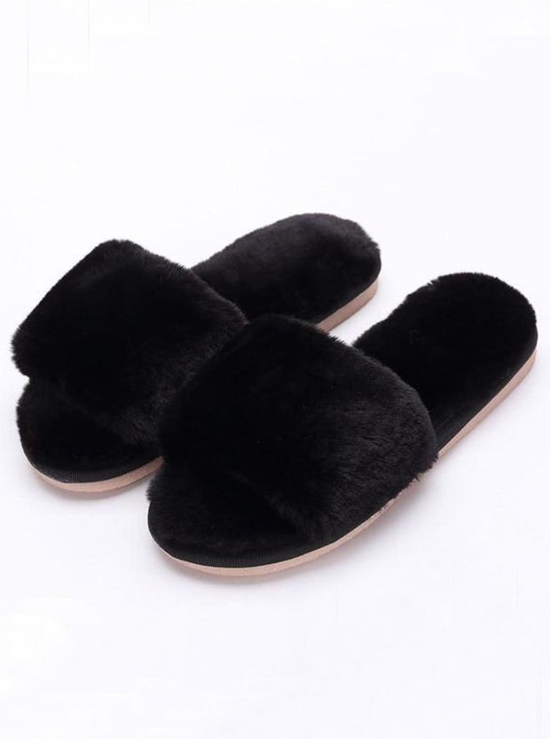 Mommy & Me Fuzzy Bedroom Slippers - black / Kids / 1 - Girls Pajama