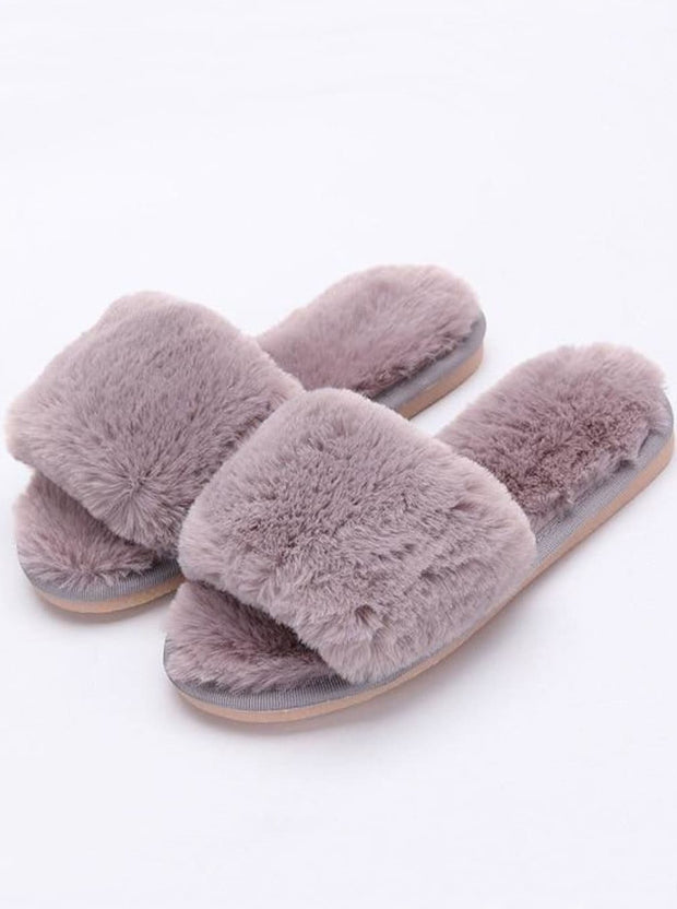 Mommy & Me Fuzzy Bedroom Slippers - grey / Kids / 1 - Girls Pajama