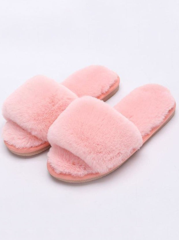Mommy & Me Fuzzy Bedroom Slippers - pink / Kids / 1 - Girls Pajama