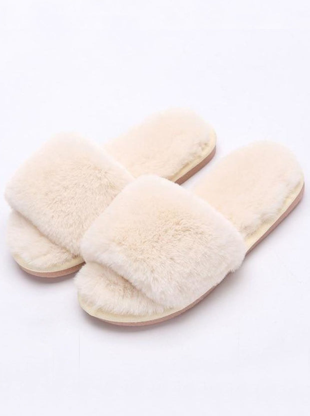 Mommy & Me Fuzzy Bedroom Slippers - white / Kids / 1 - Girls Pajama