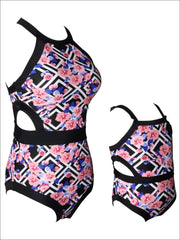 Mommy & Me Geometric & Floral Print One Piece Swimsuit - Mommy & Me Swimsuit